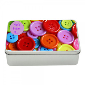 Button Tin memory keepsake box storage personalised Gift idea