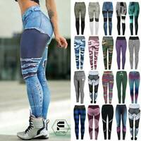 Women's Sports Yoga Pants Printed Leggings High Waist Workout Fitness Stretch A9