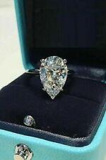 Solitaire 3 Carat White Pear Cut Diamond Engagement Wedding 14K White Gold Ring
