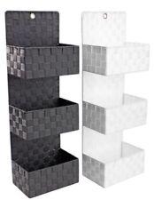 Estante de Pared Moderno Tejido Cesta 3 estantes de almacenamiento de Baño Dormitorio 72cm Blanco Nuevo