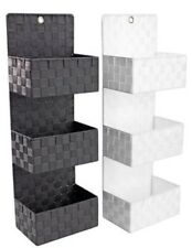 Modern Basket Weave Wall Rack 3 Shelves Grey NEW Bathroom Bedroom Storage 72cm