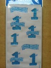 Happy 1st Birthday Little Champ Baby Children Kids Scrapbooking Sticker Blue 047