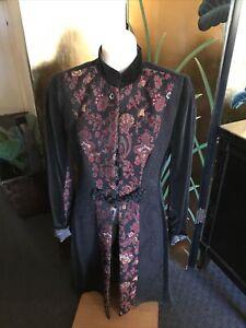 ETRO Simply Amazing BLACK VELVET & PAISLEY Panel Coat RARE and Beautiful $2,500