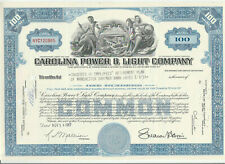 Carolina Power & Light Company Stock Certificate