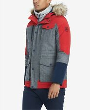$595 Tommy Hilfiger Mens Red Gray Wool Silk Down Hooded Parka Logo Coat Jacket L