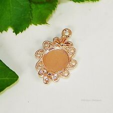 12mm Round Rose Gold Plated Flower Style Cabochon (Cab) Drop Setting (#A1-40)