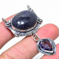 "Lolite Stone Amethyst Gemstone Handmade Gift Jewelry Pendant 2.21"" VS-2387"
