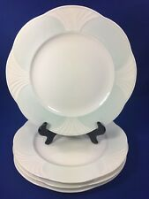 Villeroy & Boch DELTA Pale Blue Rim DINNER PLATES White Embossed Fans SET OF 4