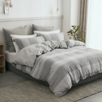 Washed Linen Cotton Duvet Cover Set Breathable Warm Soft Cozy Queen Size PHF