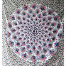 Colcha plumas pavo real violeta gris 230x210cm India manta algodón decoración