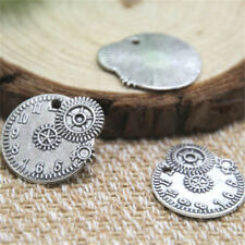 15pcs Clock charms, Antique Tibetan silver Gear clock Charm Pendants 23x20mm