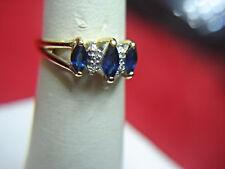 SWEET 14K YELLOW GOLD SAPPHIRE & DIAMOND RING