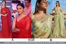 Indian Reception Bollywood Party Ethnic Wear Nylon Net Saree Designer Fancy Sari