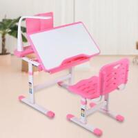 Kinderschreibtisch Schreibtisch Mit LED Lampe + Lehne Stuhl Verstellbar Neigbar