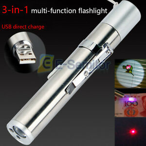 3 in 1 Multifunction Super Bright Led USB Rechargeable Pen Pocket Torch Lamp