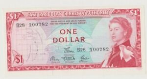 EAST CARIBBEAN  P 13d  QUEEN ELISABETH II  1  DOLLAR  1965 MAP  UNC