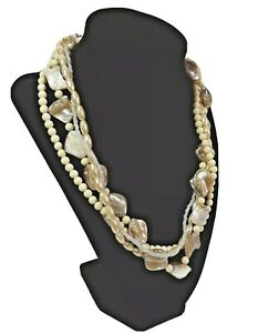 Avon 4 Multi Strand Cream Faux Pearl Shell Piece Seed and Glass Bead Necklace