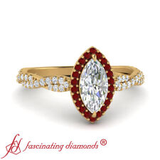 .75 Carat Marquise Cut Diamond And Ruby Gemstone Twisted Halo Engagement Ring