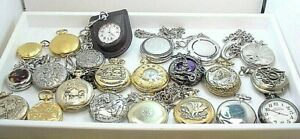 22 PC  POCKET PENDANT QUARTZ WATCH GROUP  for REPAIR PARTS  all UNTESTED  AS IS