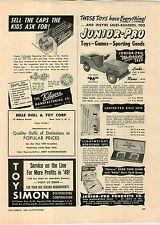 1949 PAPER AD Toy Pedal Car Junior Pro Motorized Jeep Tru Vue Stereoscopes Film