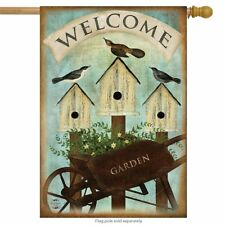 "Wheelbarrow Welcome Spring House Flag Birdhouses Floral 28"" x 40"" Briarwood Lane"