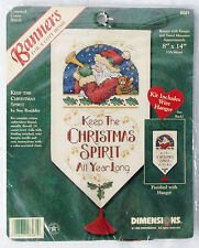 """Dimensions """"Keep The Christmas Spirit"""" Banner Counted Cross Stitch Kit"""