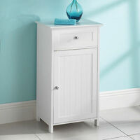 New White Wood Free Standing Cupboard with a Drawer Bathroom Furniture Cabinet