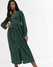 ASOS DESIGN Tall broderie Midi Dress With hook Forest Green Colour Size 14