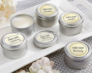 48 Personalized Sweet As Can Bee Round Candle Tins Baby Shower Favors