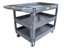 "Pake Handling Tools - Plastic 3 Shelves Utility Cart, 550lbs Capacity, 37"" x 25"""