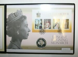 2015 Jersey Sterling .925 Silver Proof £5 on Cover - Longest Reigning Monarch