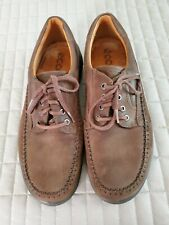 Ecco Mens Leather Shoes Size 44 Italy Brown Casual