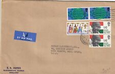 G1572 UK  GANDHI stamps on England Sussex Jan 1970 cds airmail cover to  USA