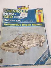 HAYNES REPAIR MANUAL #1642 CHEVROLET NOVA - GEO PRIZM 1985 - 1992 ALL MODELS