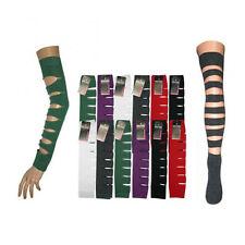 Slashed Punk Look Arm Warmer Sleeves + Thigh Socks - Black/Red/Purple/Green/Grey