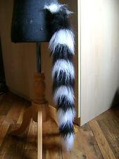 Black/White Stripe Fake Fur Clip On Tail Fancy Dress One Size Dress Up Tail