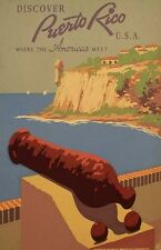 "Vintage ""Discover Puerto Rico"" Travel Poster"