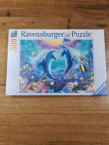 Jigsaw Puzzle ravensburger 500pc Dancing Dolphins ocean sea fish coral