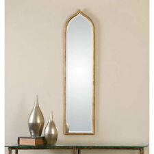 """Narrow Arch Gold Leaf Beveled Wall Mirror Large 50"""""""