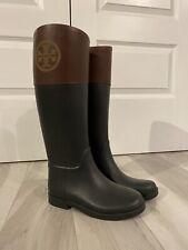 Tory Burch Color Block Black/Brown Rainboots Size 6M