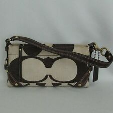 Coach Carly Brown Ivory Signature Leather Canvas 10793 Small Shoulder Handbag