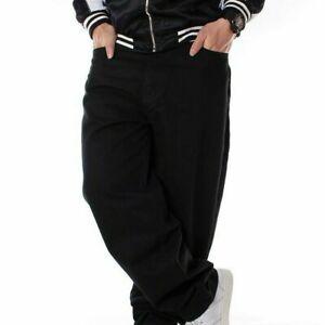 Men Hip-Hop Jeans Denim Cargo Pants Baggy Loose Black Trousers Streetwear