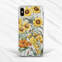 Yellow Retro Flowers Vintage Sunflower Case For iPhone 7 8 Xs XR 11 Pro Plus Max