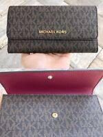 Michael Kors Jet Set Travel PVC Large Trifold Wallet Brown MK Signature Mulberry