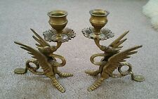 2 Vintage Brass Winged Griffin - Dragon Candlestick Holders almost 3 1/2 lbs.