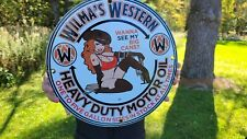 OLD VINTAGE DATED 1953 WILMA'S WESTERN GASOLINE MOTOR OIL PORCELAIN GAS SIGN