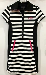 """KISS ON THE GREEN Women's Golf Dress Small """"Golf For It"""" Black & White Stripes"""