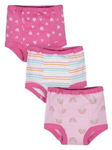 NEW Gerber Girls Toddler Training Pants 3 Pair Organic Cotton Sz 3T / 32-35 lbs