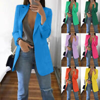 Women Collar Blazer Suit Thin Jacket Lady Formal Office Coat Cardigan Outwear GO