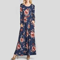 Womens Floral Print Round Neck Long Sleeve Maxi Dress Loose Casual Long Dresses